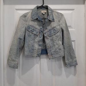 Aritzia Wilfred Bleach Dye Cropped Denim Jacket